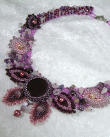 floral pink quartz purple lilac necklace
